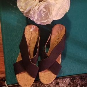 NEW Lucky Brand Vintage Cork Wedges (Navy Blue)
